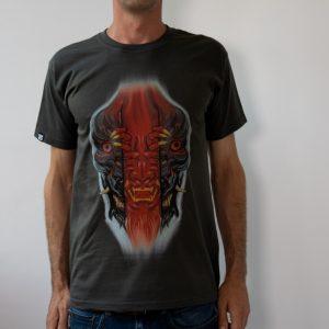 мъжка тениска графит и цветен принт